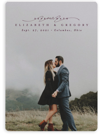 This is a classic and formal, simple and minimalist, purple Save the Dates by Lea Delaveris called Sweep with Standard printing on Magnet Paper in Magnet Flat Card format. Elegant typography that gets out of the way of the photo ...