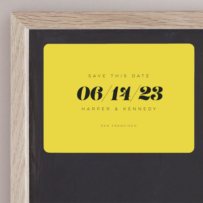 """""""Bold Simplicity"""" - Save The Date Magnets in Mimosa by Laura Bolter Design."""