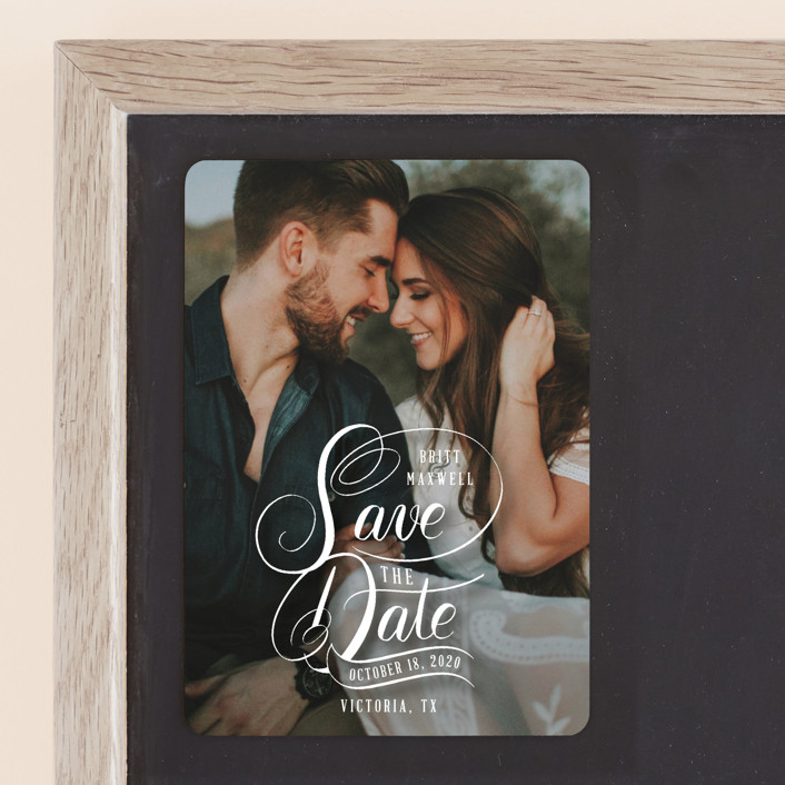 """Stacked Script Save the Date"" - Save The Date Magnets in Sugar by Becky Nimoy."