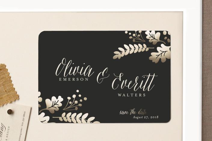 """Gold Leaf"" - Floral & Botanical, Elegant Save The Date Magnets in Champagne by Robin Ott."