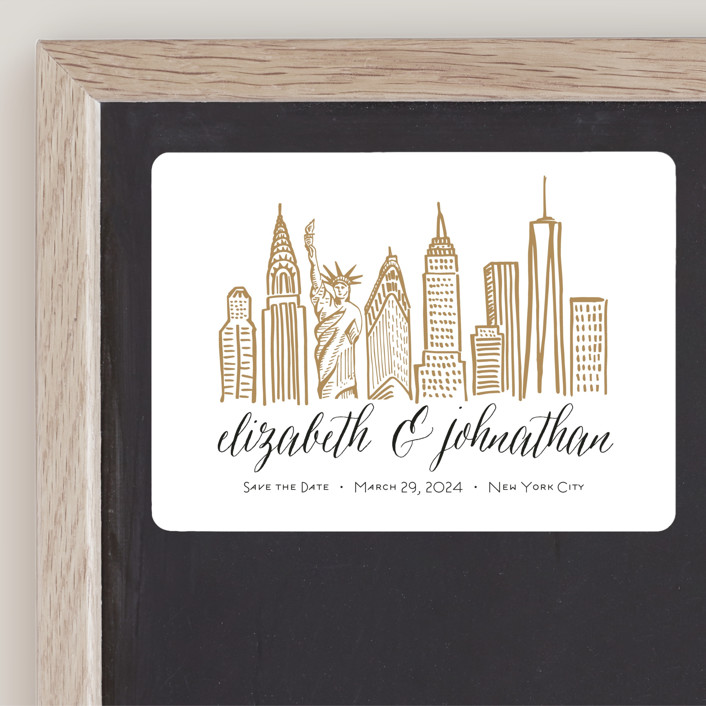 """""""Skyline - New York City"""" - Save The Date Magnets in Gold Coast by Abby Munn."""