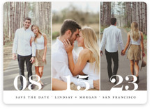 This is a black save the date magnet by Kimberly FitzSimons called Trio with standard printing on magnet paper in magnet.