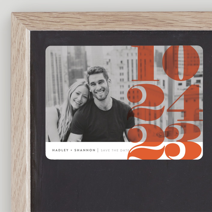 """""""Numerals"""" - Save The Date Magnets in Tomato by Up Up Creative."""