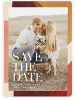 This is a red save the date magnet by Kelly Schmidt called Galeria with standard printing on magnet paper in magnet.
