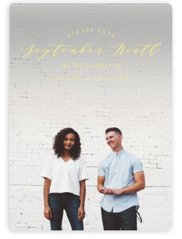 This is a landscape, portrait classic and formal, yellow Save the Dates by Owl and Toad called New Style with Standard printing on Magnet Paper in Magnet Flat Card format. Full bleed photo design with featured text