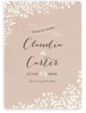 This is a portrait botanical, pink Save the Dates by Jennifer Wick called Sun Prints with Standard printing on Magnet Paper in Magnet Flat Card format. A romantic save the date featuring a sun print of wildflowers and understated typography. ...