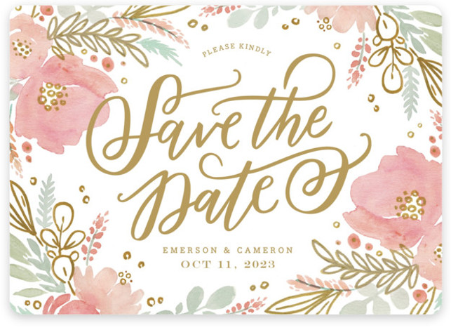 This is a landscape botanical, gold Save the Dates by Kristen Smith called Floral Vignette with Standard printing on Magnet Paper in Magnet Flat Card format. This watercolor floral embellished save the date is perfect for a garden wedding
