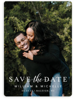This is a white save the date magnet by MC Designs called Convey our Love with standard printing on magnet paper in magnet.