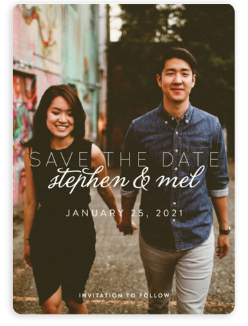 This is a landscape, portrait bold and typographic, white Save the Dates by Keen Peachy called Swoon with Standard printing on Magnet Paper in Magnet Flat Card format. This ethereal photo save the date features your favorite couple photo, while ...