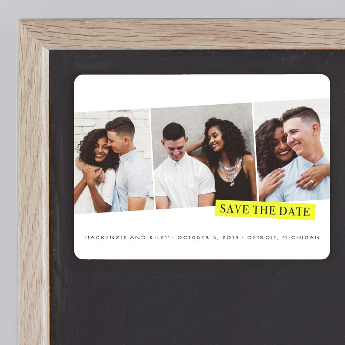 """Sealed"" - Modern Save The Date Magnets in Black and Yellow by Snow and Ivy."