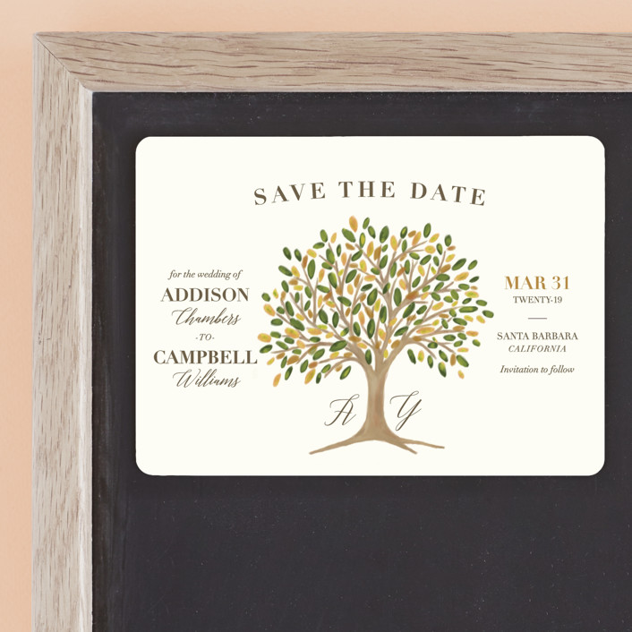 """""""Arbor"""" - Rustic Save The Date Magnets in Amber by Griffinbell Paper Co.."""