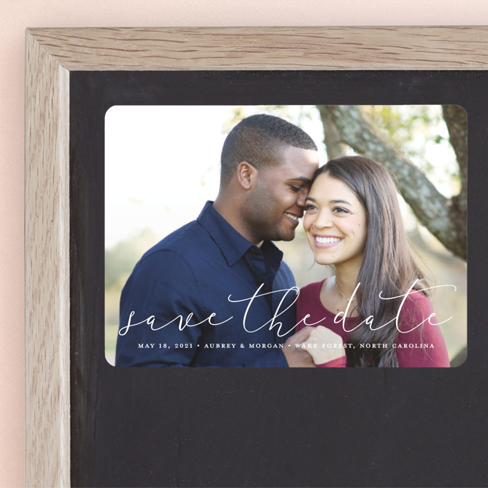 """Etched in love"" - Save The Date Magnets in Cloud by Stacey Meacham."