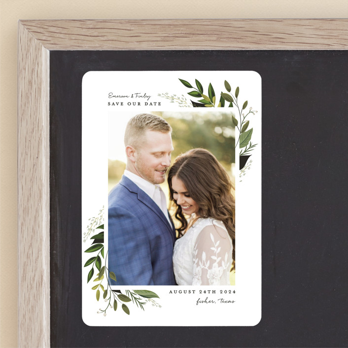 """""""Vines of Green"""" - Save The Date Magnets in Fern by Susan Moyal."""
