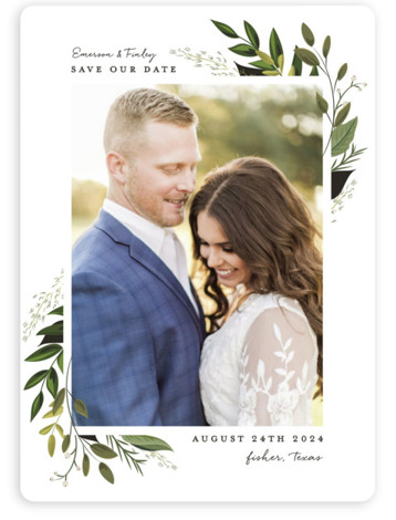This is a portrait botanical, floral, green Save the Dates by Susan Moyal called Vines of Green with Standard printing on Magnet Paper in Magnet Flat Card format. This wedding invitation features an array of fresh greenery.