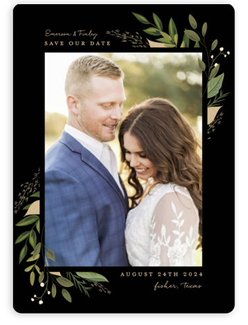 This is a portrait botanical, floral, black, green Save the Dates by Susan Moyal called Vines of Green with Standard printing on Magnet Paper in Magnet Flat Card format. This wedding invitation features an array of fresh greenery.