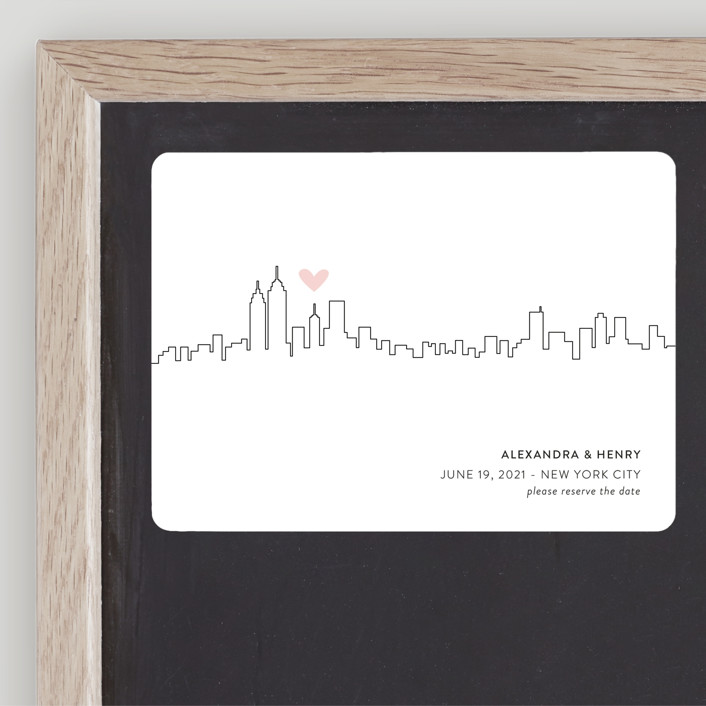 """Love in the City - New York City"" - Save The Date Magnets in Petal by Erin Deegan."