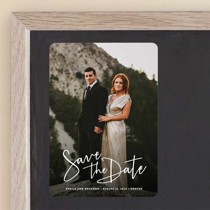 """""""Stylish Script"""" - Save The Date Magnets in Cloud by Hooray Creative."""