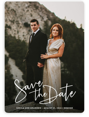 This is a landscape, portrait, square orientation classic and formal, full bleed photo, modern, simple, white Save the Dates by Hooray Creative called Stylish Script with Standard printing on Magnet Paper in Magnet Flat Card format. A lovely, modern script ...