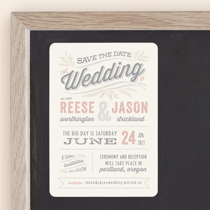 """Rustic Charm"" - Rustic Save The Date Magnets in Petal by Hooray Creative."