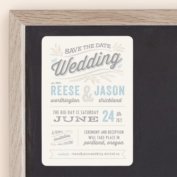 """""""Rustic Charm"""" - Rustic Save The Date Magnets in Sky by Hooray Creative."""
