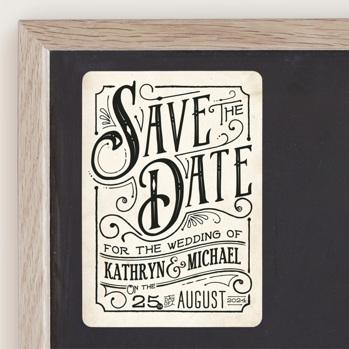 """""""Inked"""" - Rustic Save The Date Magnets in Parchment by GeekInk Design."""