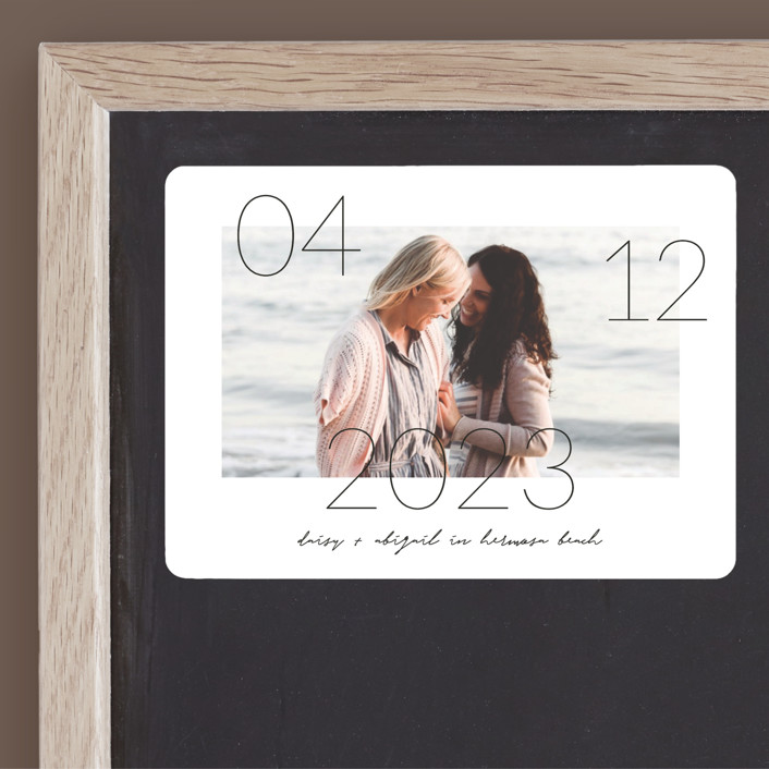 """""""Lucky Date"""" - Save The Date Magnets in Snow by Simona Camp."""