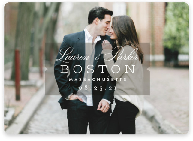 This is a landscape classic and formal, simple and minimalist, grey Save the Dates by Oscar & Emma called Locale with Standard printing on Magnet Paper in Magnet Flat Card format. A full bleed photo card featuring thoughtful typography.
