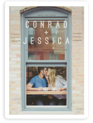This is a landscape, portrait bold and typographic, modern, brown Save the Dates by Eric Clegg called Together with Standard printing on Magnet Paper in Magnet Flat Card format. This modern Save the Date card features a full bleed photo. ...