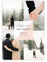 This is a pink save the date magnet by Robin Ott called portfolio with standard printing on magnet paper in magnet.