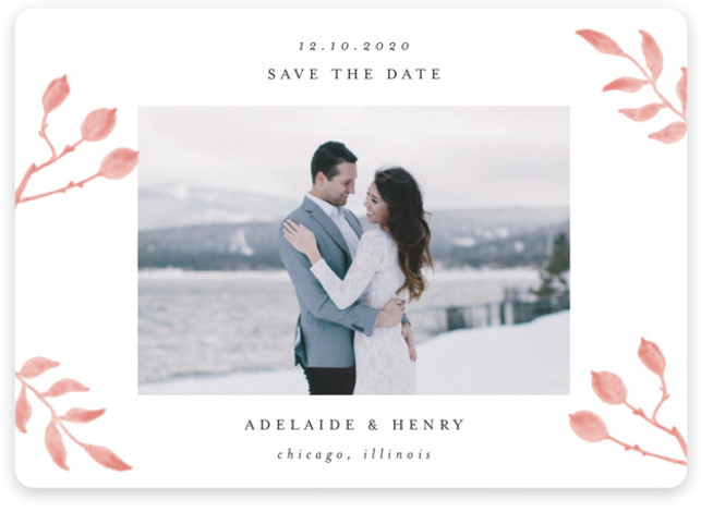 This is a landscape, portrait botanical, pink Save the Dates by Lehan Veenker called Serenity with Standard printing on Magnet Paper in Magnet Flat Card format. This light and airy photo save the date features hand drawn watercolor botanicals.