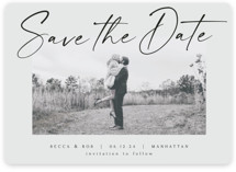 This is a grey save the date magnet by AK Graphics called Flash Dance with standard printing on magnet paper in magnet.