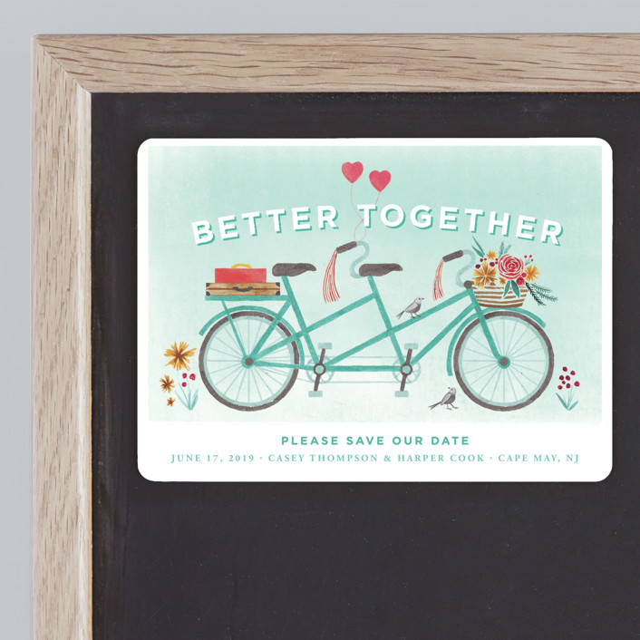 """""""In Tandem"""" - Save The Date Magnets in Aqua by Laura Moyer."""