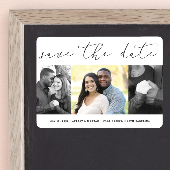 """""""Etched in love"""" - Save The Date Magnets in Cloud by Stacey Meacham."""