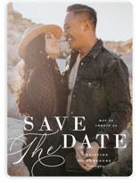 This is a white save the date magnet by Ashley Rosenbaum called Composition with standard printing on magnet paper in magnet.