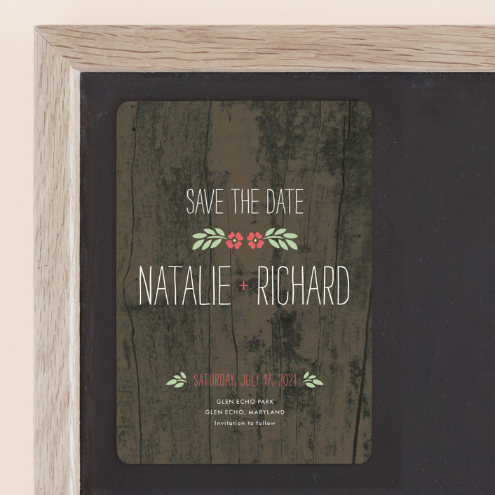 """In the Park"" - Rustic Save The Date Magnets in Rose by Amanda Larsen Design."