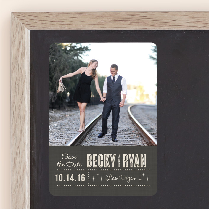 """""""Lucky in Love"""" - Bold typographic, Modern Save The Date Magnets in Charcoal by Susan Asbill."""
