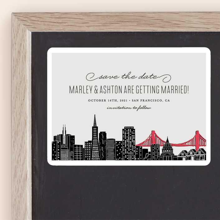 """Big City - San Francisco"" - Destination, Modern Save The Date Magnets in Light Taupe by Hooray Creative."
