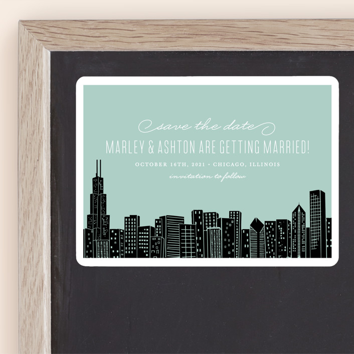 """""""Big City - Chicago"""" - Destination, Modern Save The Date Magnets in Mint Green by Hooray Creative."""