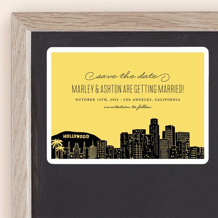 """Big City - Los Angeles"" - Save The Date Magnets in Lemondrop by Hooray Creative."