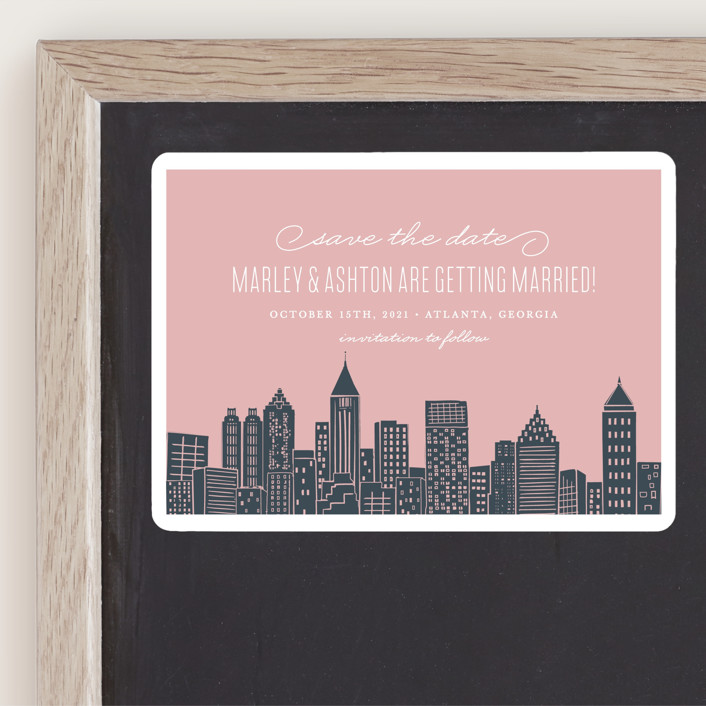"""Big City - Atlanta"" - Destination, Modern Save The Date Magnets in Blush by Hooray Creative."