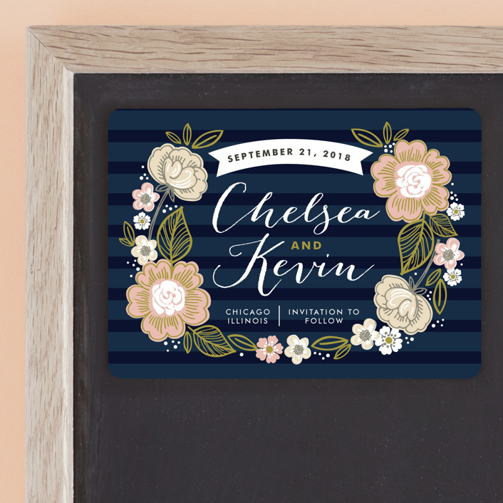 """Striped Florals"" - Bold typographic, Hand Drawn Save The Date Magnets in Navy by Alethea and Ruth."