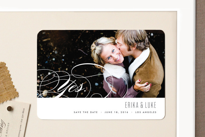 """Yes."" - Classical, Elegant Save The Date Magnets in Slate by Kristie Kern."