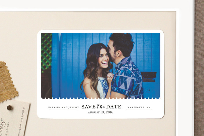 """Shore Thing"" - Modern, Simple Save The Date Magnets in Onyx by lena barakat."