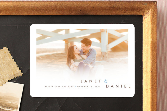 """Whisper Light"" - Simple, Modern Save The Date Magnets in Cloud by kelli hall."