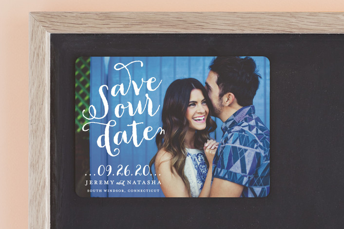 """""""Swirly"""" - Full-Bleed Photo, Modern Save The Date Magnets in Dove by roxy."""