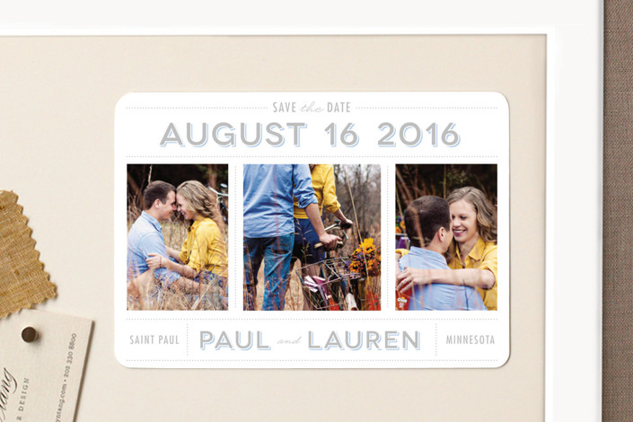 """""""Picture Perfect"""" - Modern, Simple Save The Date Magnets in Sky Blue by The Social Type."""