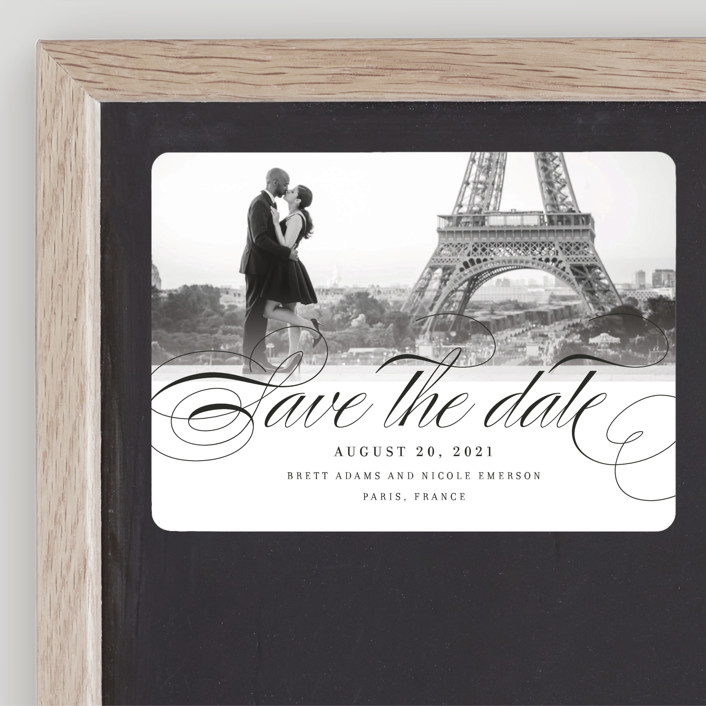 """Clean Script"" - Classical, Elegant Save The Date Magnets in Coral by Kimberly FitzSimons."
