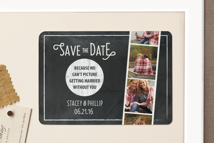 """""""Chalkboard Photo Booth"""" - Whimsical & Funny, Vintage Save The Date Magnets in Snow by hannahcloud DESIGN."""