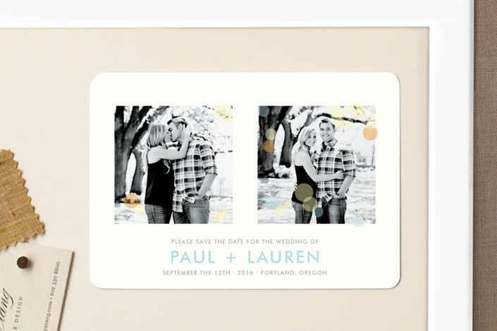 """""""Glimmer"""" - Simple, Modern Save The Date Magnets in Baby Blue by The Social Type."""