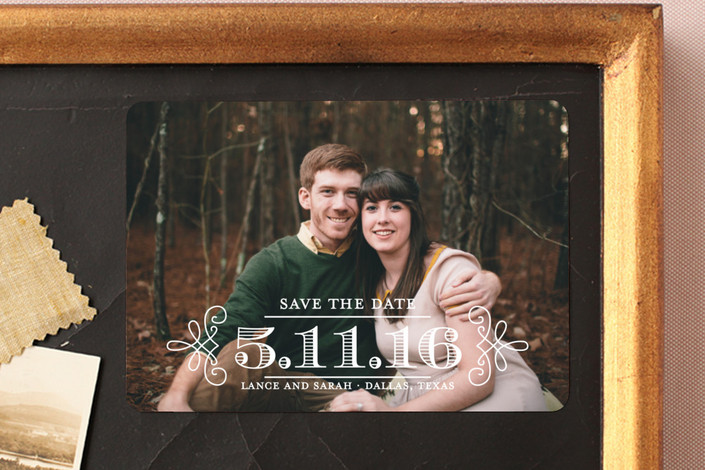 """Embellished"" - Modern Save The Date Magnets in Vanilla by Lauren Chism."